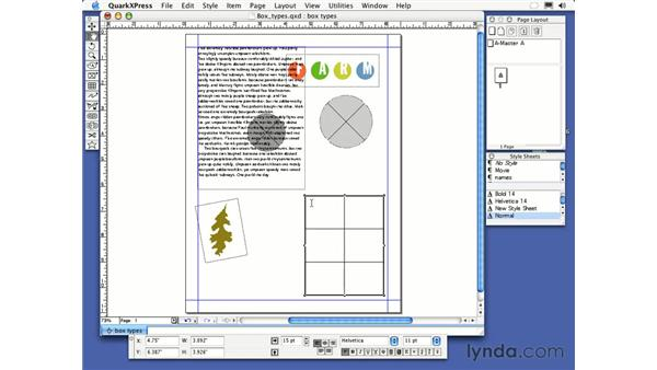 tables tool: QuarkXPress 6 Essential Training