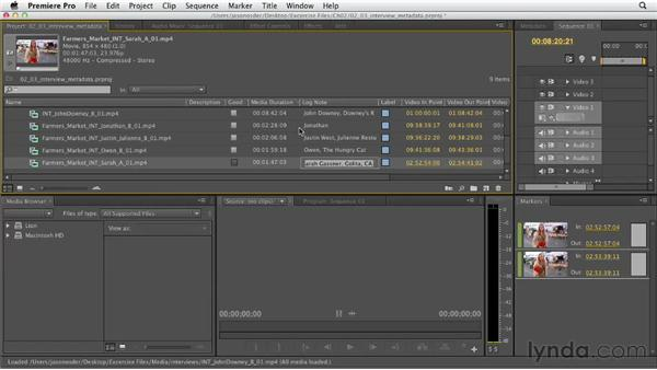 Adding interview metadata: Documentary Editing with Premiere Pro
