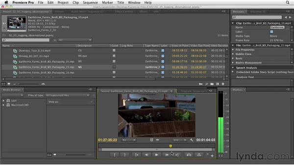 Adding notes to B-roll clips: Documentary Editing with Premiere Pro