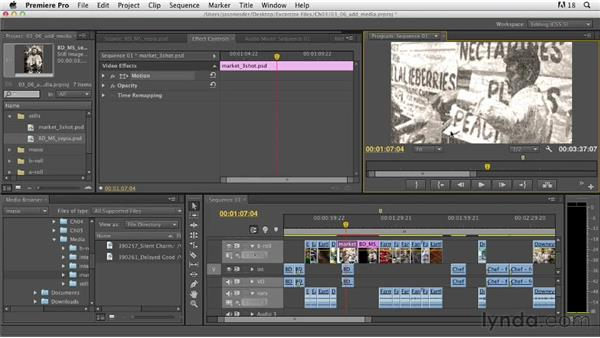Adding other media types to the Timeline: Documentary Editing with Premiere Pro