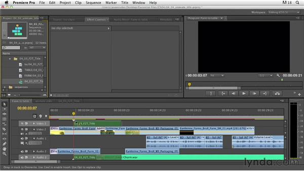 Animating a title graphic in Premiere: Documentary Editing with Premiere Pro