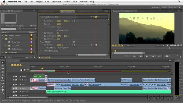 Adjusting the title and animations for the best compression: Documentary Editing with Premiere Pro