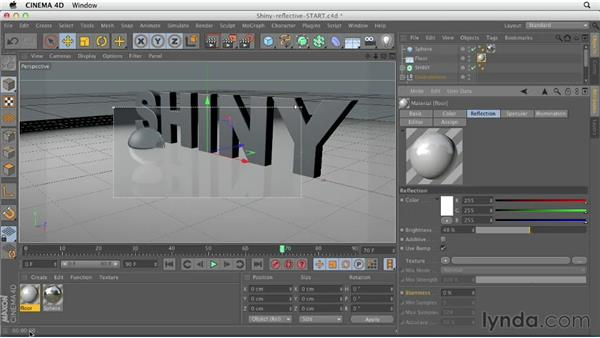 Creating reflective or shiny surfaces: CINEMA 4D Essentials 4: Materials, Texturing, and Lights