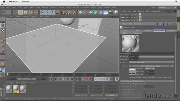 Creating rough or bumpy surfaces: CINEMA 4D Essentials 4: Materials, Texturing, and Lights