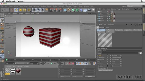 Creating transparent surfaces: CINEMA 4D Essentials 4: Materials, Texturing, and Lights
