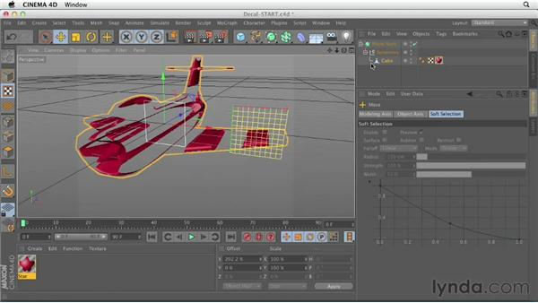Applying decals with alpha channels: CINEMA 4D Essentials 4: Materials, Texturing, and Lights