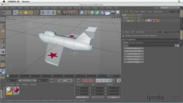 Limiting materials with selection tags: CINEMA 4D Essentials 4: Materials, Texturing, and Lights
