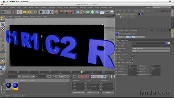 Texturing type with multiple materials: CINEMA 4D Essentials 4: Materials, Texturing, and Lights