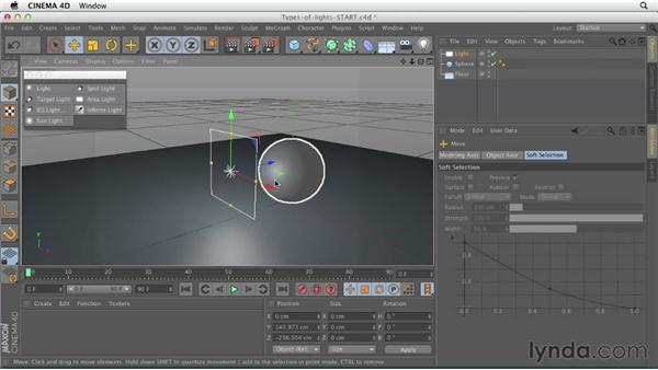 Understanding light types: CINEMA 4D Essentials 4: Materials, Texturing, and Lights