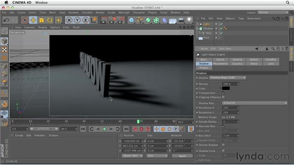 Creating and adjusting shadows: CINEMA 4D Essentials 4: Materials, Texturing, and Lights