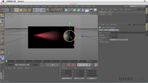 Working with visible or volumetric light: CINEMA 4D Essentials 4: Materials, Texturing, and Lights