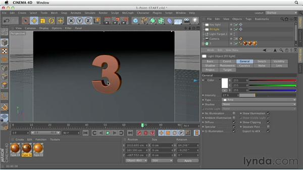 Creating a basic three-point light setup: CINEMA 4D Essentials 4: Materials, Texturing, and Lights