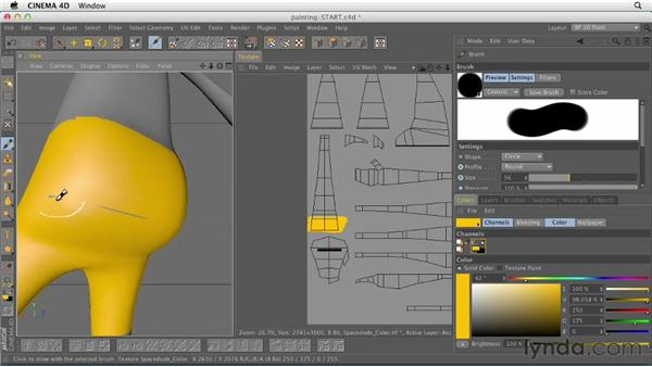 Painting on objects and textures with brushes: CINEMA 4D Essentials 4: Materials, Texturing, and Lights