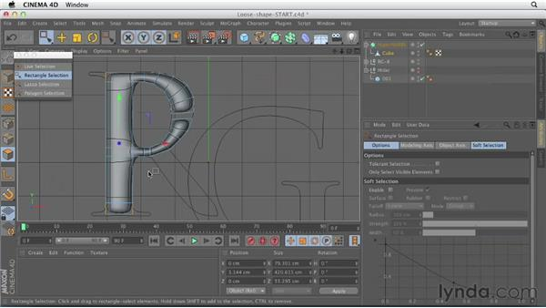 Creating a loose shape with polygon modeling tools: CINEMA 4D Essentials 6: HyperNURB Modeling and Sculpting