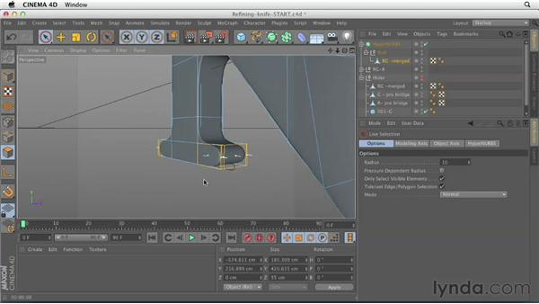 Refining the shape with knife cuts: CINEMA 4D Essentials 6: HyperNURB Modeling and Sculpting