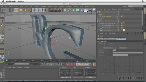 Cleaning up the lines by moving points: CINEMA 4D Essentials 6: HyperNURB Modeling and Sculpting