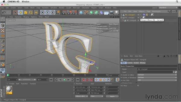 Preparing objects for rendering: CINEMA 4D Essentials 6: HyperNURB Modeling and Sculpting