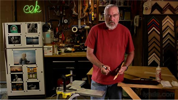 Using a V-nailer to assemble a chopped frame: Matting, Framing, and Hanging Your Photographs