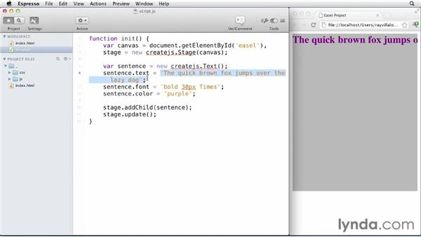 Working with text: EaselJS First Look