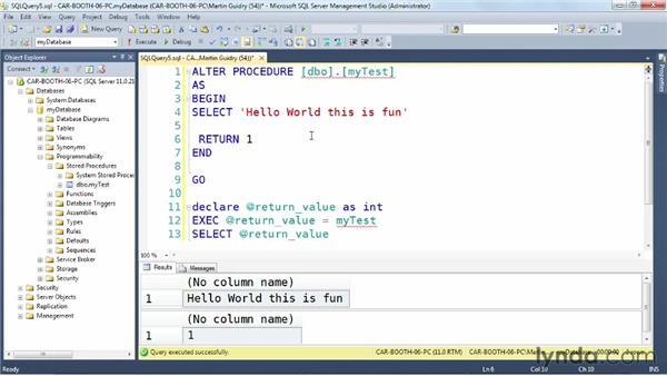 Returning data using data sets: SQL Server: Triggers, Stored Procedures, and Functions