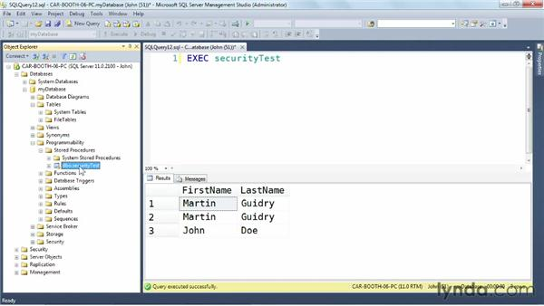 Using security and permissions: SQL Server: Triggers, Stored Procedures, and Functions