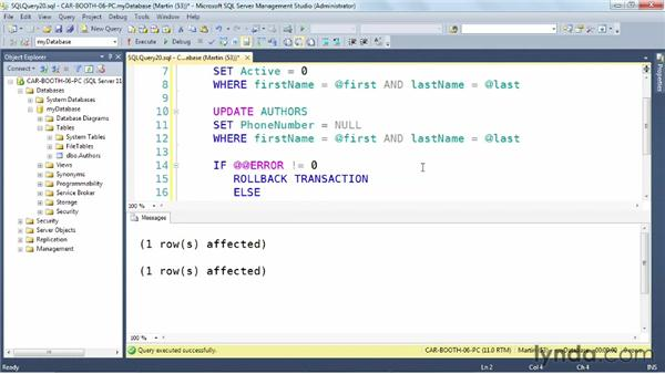 Using transactions: SQL Server: Triggers, Stored Procedures, and Functions