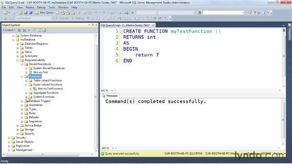 Creating a user-defined function: SQL Server: Triggers, Stored Procedures, and Functions