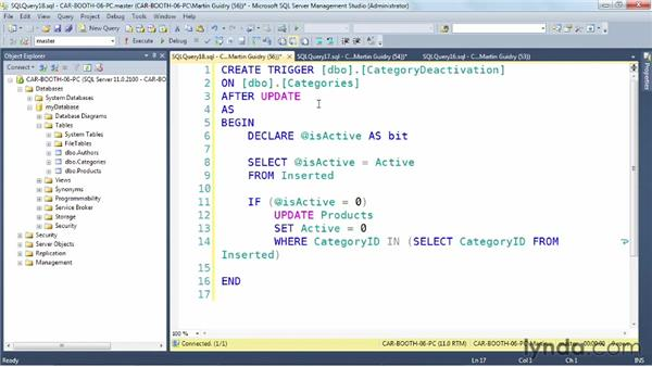 """Using """"after"""" triggers: SQL Server: Triggers, Stored Procedures, and Functions"""