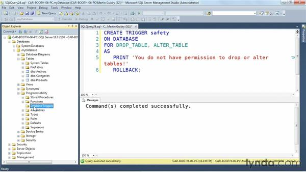 Using database-level triggers: SQL Server: Triggers, Stored Procedures, and Functions