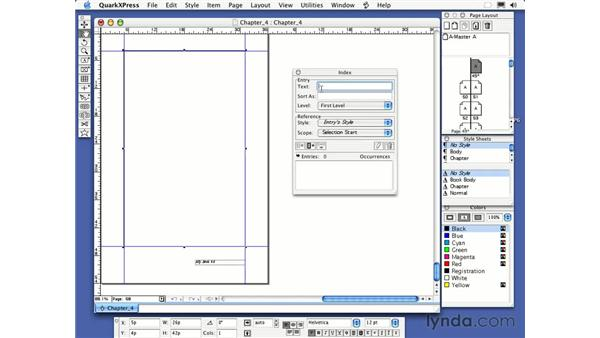 indexes: QuarkXPress 6 Essential Training
