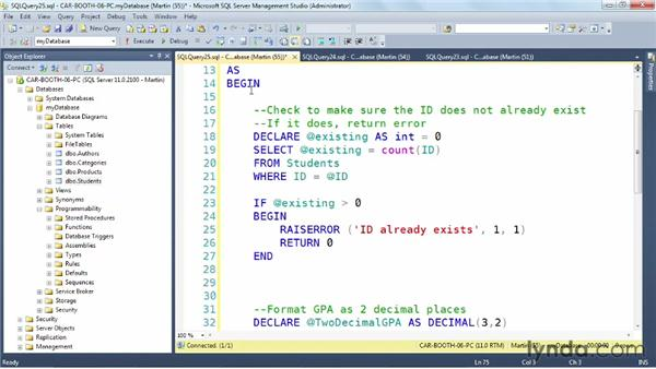 Exploring a real-world INSERT procedure: SQL Server: Triggers, Stored Procedures, and Functions