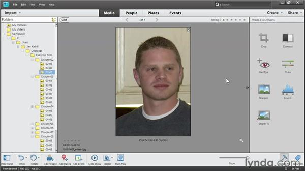 Fixing red-eye in Photo Fix: Up and Running with Photoshop Elements 11