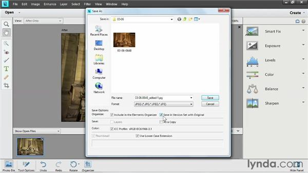 Saving edited images: Up and Running with Photoshop Elements 11