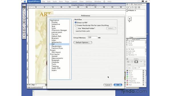 outputting to a pdf: QuarkXPress 6 Essential Training