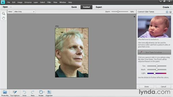 Correcting skin tones in Guided Edit: Up and Running with Photoshop Elements 11