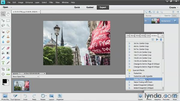 Editing automatically with actions: Up and Running with Photoshop Elements 11