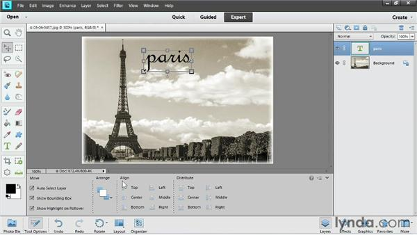 Adding text: Up and Running with Photoshop Elements 11