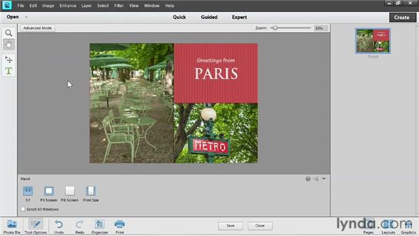 Outputting a photo creation: Up and Running with Photoshop Elements 11
