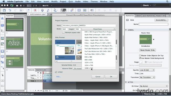 Creating a project from PowerPoint: Up and Running with Captivate 6