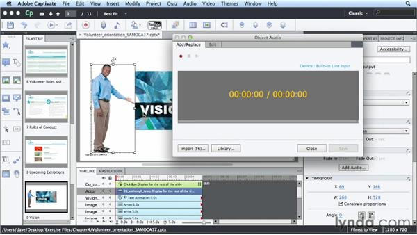 Using voice-overs: Up and Running with Captivate 6