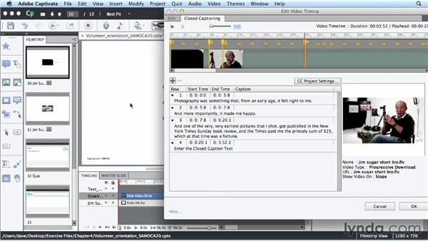 Creating closed captions: Up and Running with Captivate 6