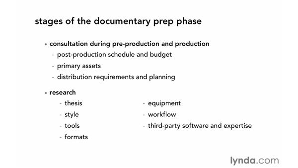 Focusing on the preparatory phase: Documentary Editing with Avid Media Composer