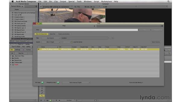 Using the Find tool and PhraseFind to search the audio in a clip: Documentary Editing with Avid Media Composer