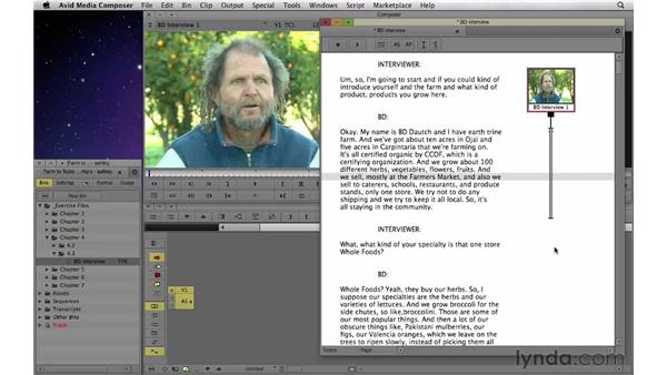 Manually syncing a script: Documentary Editing with Avid Media Composer