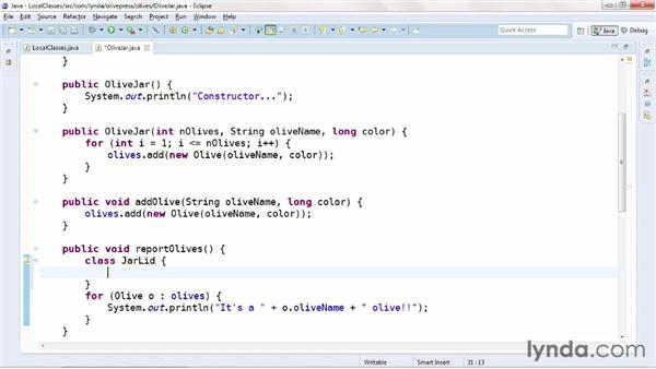 Using local inner classes: Java Advanced Training