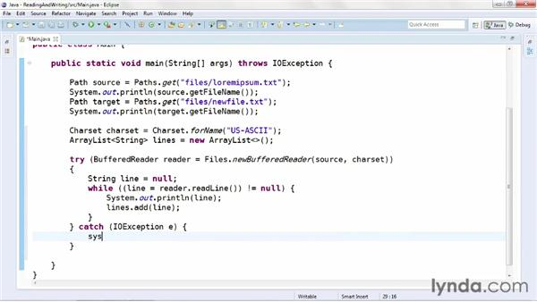 Reading and writing text files: Java Advanced Training