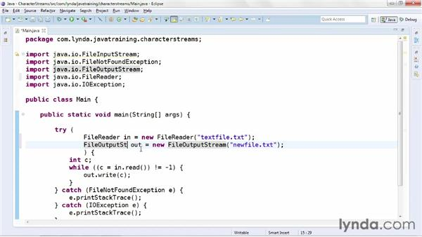 Reading and writing character streams: Java Advanced Training