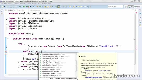 Scanning tokenized text: Java Advanced Training