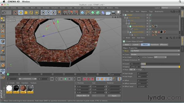 Using the Cloner object: CINEMA 4D Essentials 7: MoGraph Modeling and Animation