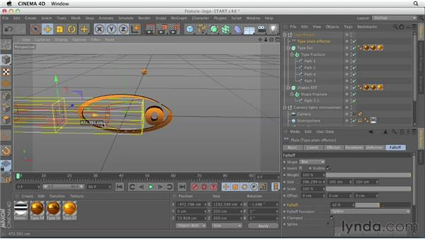 Animating a logo with the Fracture object: CINEMA 4D Essentials 7: MoGraph Modeling and Animation